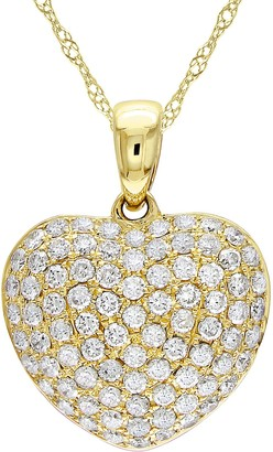 Affinity Diamond Jewelry Affinity 14K Gold 1/2 cttw Diamond Heart Pendant w/ Chain