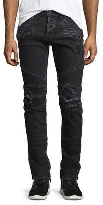 Hudson Blinder Biker Distressed Moto Jeans, Black $275 thestylecure.com