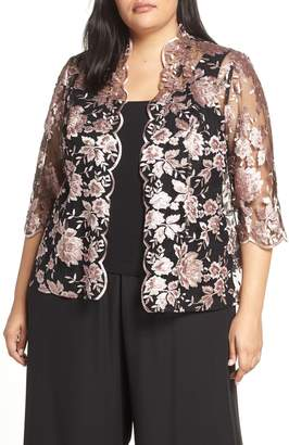 Alex Evenings Scallop Embroidered Twinset