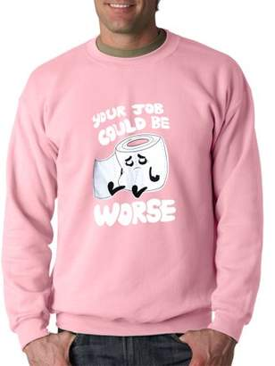 New Way 1120 - Crewneck Your Job Could Be Worse Toilet Paper Sweatshirt 3XL Light Pink