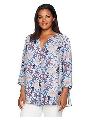 NYDJ Women's Plus Size Pintuck Blouse