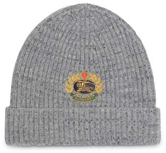 Burberry Embroidered Archive Logo Wool Blend Beanie