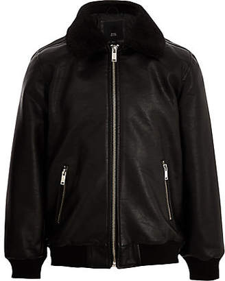 79608bdd7a0e River Island Boys Black faux leather borg collar jacket