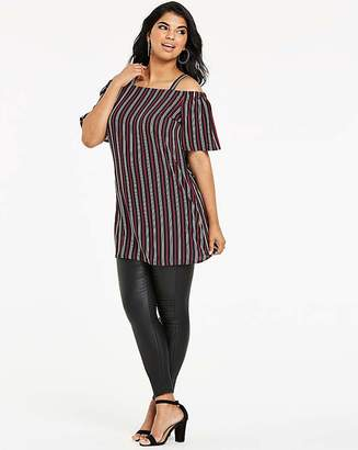 Quiz Curve Cold Shoulder Stipe Top