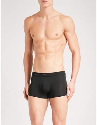 Ermenegildo Zegna Mens Black Modern Solid Slim-Fit Jersey Trunks