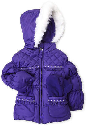 Protection System (Toddler Girls) Two-Piece Puffer Coat & Mittens Set