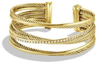 David Yurman Crossover Four-Row Cuff Bracelet With Diamonds In 18K