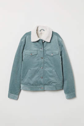 H&M Pile-lined Corduroy Jacket - Turquoise