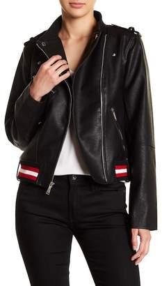 BCBGeneration Faux Leather Banded Trim Moto Jacket