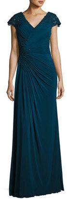 La Femme Cap-Sleeve Lace-Trim Jersey Gown, Deep Teal $478 thestylecure.com