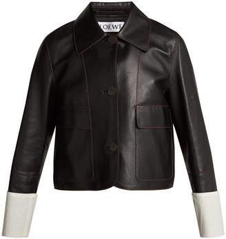 Loewe Contrast-cuff nappa leather jacket