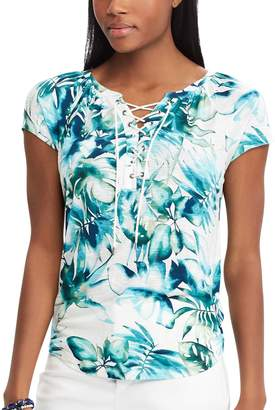 Chaps Petite Print Lace-Up Top