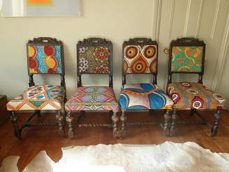 Blanche Dlys Designs Set Of Four Tribal Print Covered Chairs