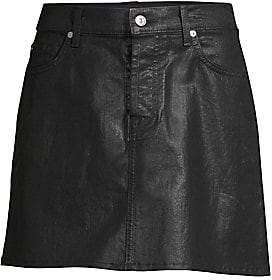 7 For All Mankind Women's Coated Denim Mini Skirt