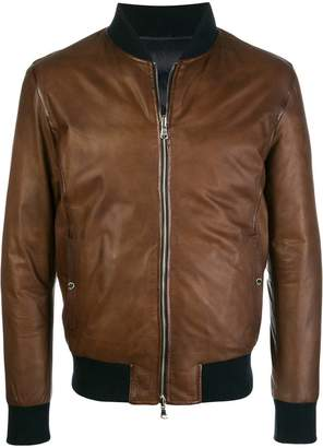 Barba leather bomber jacket