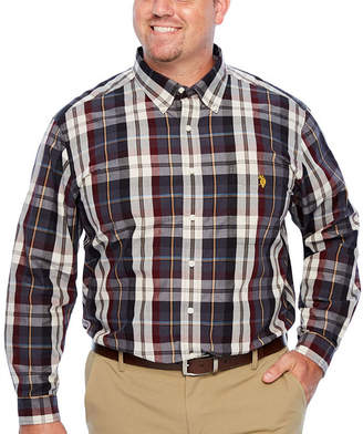U.S. Polo Assn. USPA Mens Y Neck Long Sleeve Plaid Button-Front Shirt Big and Tall