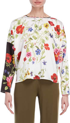 Blugirl Two-Tone Floral Blouse
