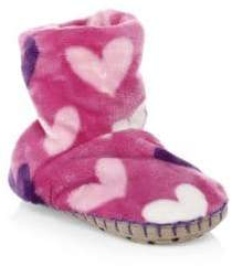 Hatley Girl's Multi-Hearts Fleece Slipper