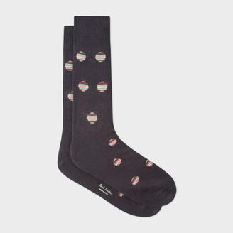 Men's Dark Grey Polka Dot Stripe Socks $30 thestylecure.com