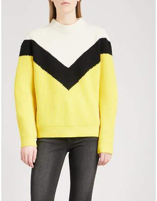 Mo&Co. Colour-block wool jumper