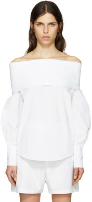 Emilio Pucci White Off-the-Shoulder Blouse $980 thestylecure.com
