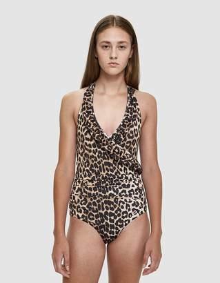 Ganni Avalon Leopard Print Swimsuit