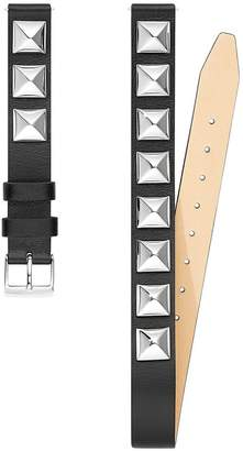 Rebecca Minkoff Silver Tone Studded Wrap Leather Strap, 14Mm