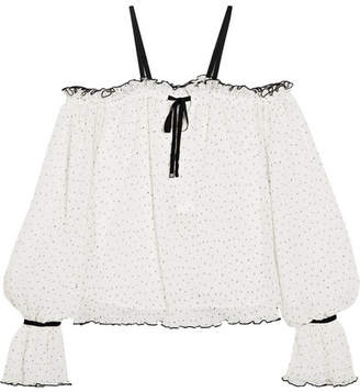 Alice McCall Picture This Off-the-shoulder Ruffled Swiss-dot Georgette Blouse - White