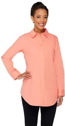 Dennis Basso Woven Button Front Tunic with Shirt Tail Hem