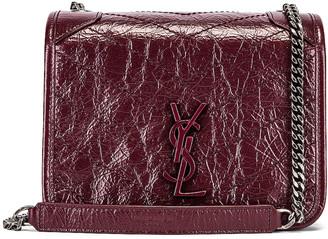 Saint Laurent Niki Wallet Chain Bag in Rouge Legion   FWRD