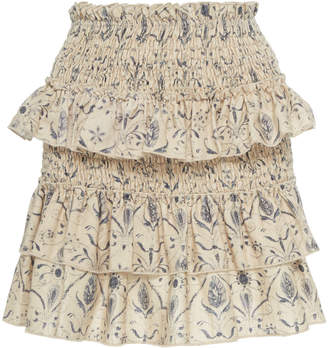 SIR the Label Sachi Smocked Linen Mini Skirt