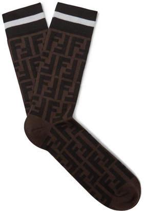 Fendi Logo-intarsia Stretch Cotton-blend Socks - Brown