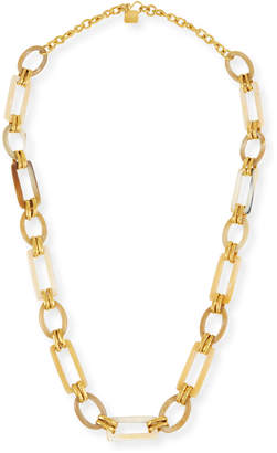 "Ashley Pittman Light Horn & Bronze Link Necklace, 38""L"