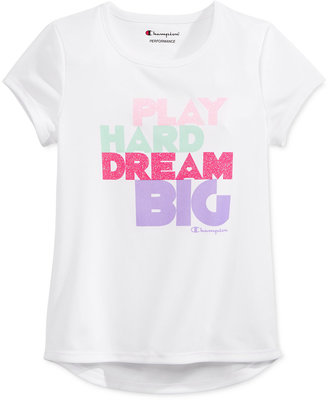 Champion Play Hard Dream Big Glitter Graphic-Print T-Shirt, Toddler & Little Girls (2T-6X) $16 thestylecure.com