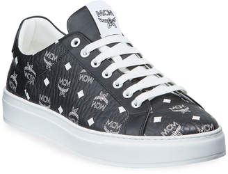 MCM Men's Visetos Logo-Stamped Low-Top Sneakers
