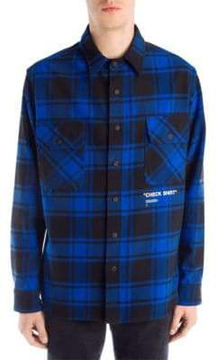 Off-White Quote Plaid Flannel Button-Down Shirt