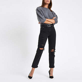 River Island Black high rise mom fit ripped jeans