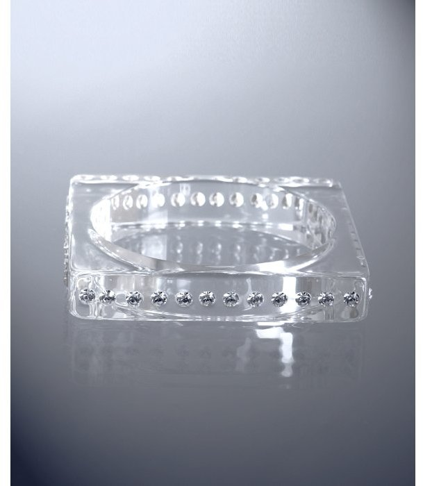 RJ Graziano clear crystal studded lucite square bangle