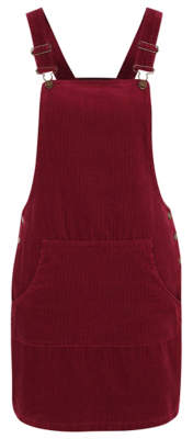 George Burgundy Corduroy Pinafore Dress