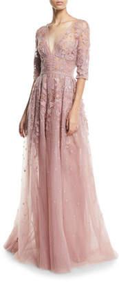 Murad Zuhair Kaleidoscope-Flair Tulle V-Neck Elbow-Sleeve Evening Gown