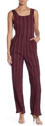 Moon River Stripe Print Back Tie Jumpsuit