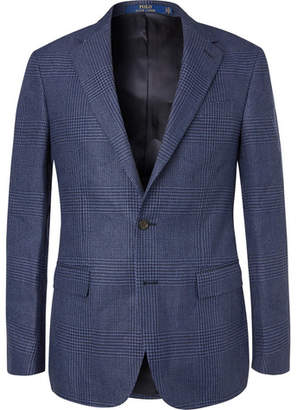 Polo Ralph Lauren Navy Prince Of Wales Checked Linen And Cotton-Blend Blazer