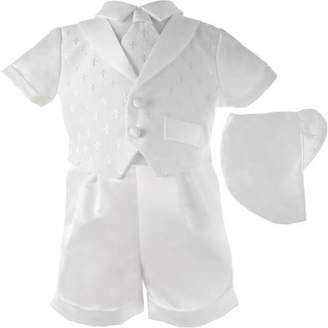 Haddad Brothers Christening Baptism Newborn Baby Boy Special Occasion 3 Pc Cotton Cross Dobby Vest w/ Satin Boxer Shorts & Hat