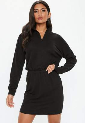 Missguided Black Oversized High Neck Ruched Waist Sweater Dress, Black