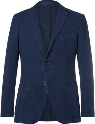 Officine Generale Blue Slim-Fit Cotton-Seersucker Suit Jacket $525 thestylecure.com