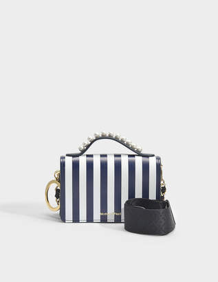 Mother of Pearl Jude Stud Handle Bag in Navy and White Calfskin