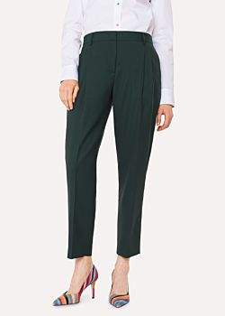 Paul Smith A Suit To Travel In - Women's Tailored-Fit Dark Green Wool Double-Pleat Trousers