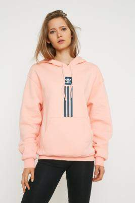 adidas Solid Pillar Hoodie - pink XS at Urban Outfitters