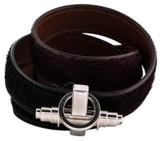 Givenchy Obsedia Pony Hair & Leather Triple Wrap Bracelet Silver Obsedia Pony Hair & Leather Triple Wrap Bracelet