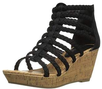 Rampage Womens' Julius Braided Platform Wedge Closed Back Open Toe Wedge